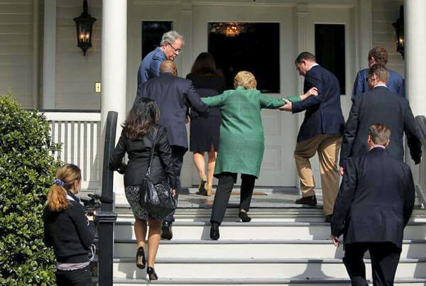 Hillary tackles stairs