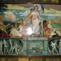 subway station painted tile work